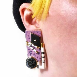 Vintage Jewelry - ❌SOLD❌  Vintage 80s Deco Modern Porcelain Earrings